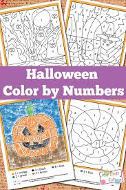 halloween color by numbers worksheets itsy bitsy fun