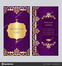 Invitations And Cards A Set Of Invitation Cards Purple Background With Gold Asian Ka
