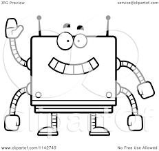 cartoon clipart of a black and white waving box robot vector