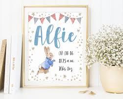 Personalized Nursery Decor Rabbit Customized Birth Announcement Custom Order