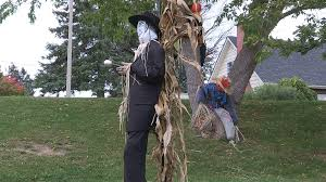 halloween scarecrows and decorations in haunted town of meaford