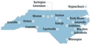 map of virginia and carolina with cities carolina southeast information office u s bureau of