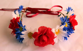 4th of july headbands white and blue flower crowns adjustable flower headband fourth