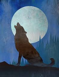 wolf contemporary moon print wolf moon 1 wolf howling