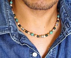 natural stone beaded necklace images Mens natural stone beaded necklace 19 inches green jpg