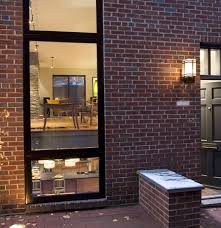 exposed brick wall lighting modern exterior design center city row home near exposed brick wall