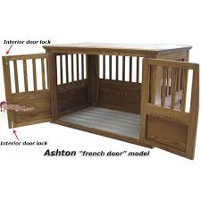 Dog Crate Furniture Bench Ashton French Door Wooden Dog Crate