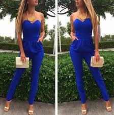 royal blue jumpsuit arrival 2015 summer style jumpsuits strapless