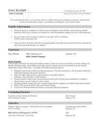 Manager Sample Resume Safety Manager Resume Berathen Com