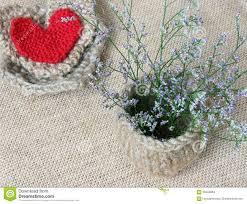 decor handmade flower pot heart vintage style stock photo