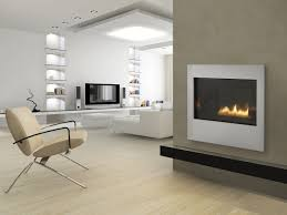 pleasant living space with alluring wall gas fireplace
