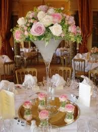 Large Martini Glass Centerpieces by Jan Harrison Flowers Gallery Wedding Flowers Bridal Bouquets