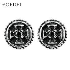 mens ear studs aoedej cross black rhinestone earrings stainless steel men s