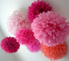 pink tissue paper poms set of 10 blush wedding decorations