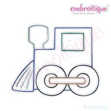 embroitique simple christmas train embroidery design small
