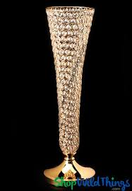 Crystal Vases For Centerpieces Crystal Beaded Gold Trumpet Vase Wedding Decor Shopwildthings Com