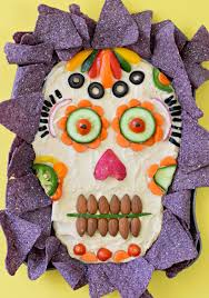 Halloween Party Appetizers Dia De Los Muertos Hummus Dip Fork And Beans