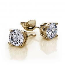 daily wear diamond earrings 1 2 carat yellow gold diamond color g h diamond clarity i1 i2