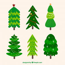 collection of green christmas trees in different shapes vector