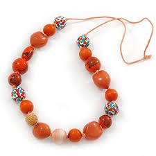 long orange necklace images Avalaya long orange wood and cotton bead cord necklace 88cm l jpg