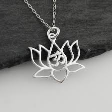 Lotus Flower With Om Symbol - lotus flower w om cutout necklace 925 sterling silver
