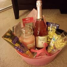 what to put in a wine basket spa themed gift basket idea wine glasses bottle of wine lotion
