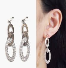 invisible earrings silver clip on hoop earrings three metallic hoop invisible clip