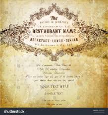 restaurant label design old floral frame stock vector 130387406