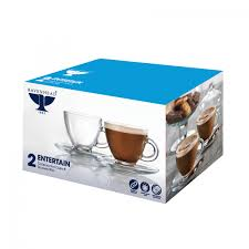 Cappuccino Cups by Ravenhead Entertain Set Of 2 20cl Cappuccino Cups And Saucers