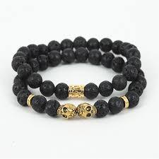 bracelet gold skull images 10pcs men 39 s beaded gold skull head bracelet black agate lava onyx jpg