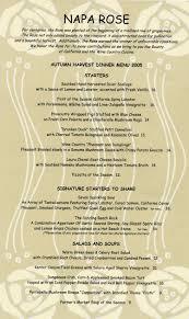 napa menus for prior seasons