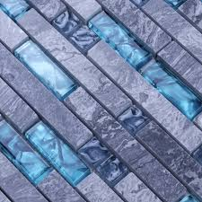 Grey Marble Stone Blue Glass Mosaic Tiles Backsplash Kitchen Wall Tile - Stone glass mosaic tile backsplash
