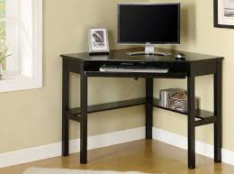 triangle shape black stained wooden desk with keyword drawer and 4