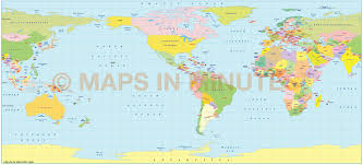 The World Political Map by Pavlov Projection 100m Scale Us Centric World Map Small World