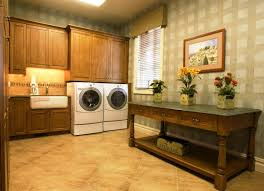 Laundry Room Decoration by Delectable Wooden Cabinets And Modern Wash Machines For Rustic