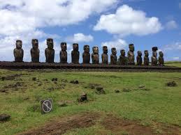 All Island Landscape by At Ahu Tongariki Where 15 Restored Moai Guard The Easter Island