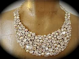 bridal necklace crystal images Crystal and pearl swarovski bridal statement necklace the jpg