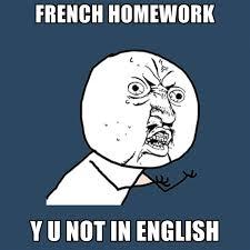 Meme In English - french homework y u not in english create meme