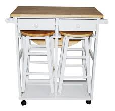 Kitchen Island With Wheels White Wooden Move Able Kitchen Island With Double Drawers And