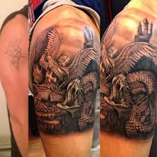 vs evil tattoos half sleeve black and grey vs evil