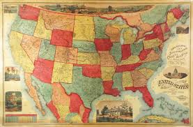 United States Map Wall Art by Unrecorded Variant Of A Lovely Wall Map Of The U S Rare