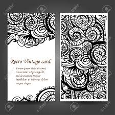 business card with asian ethnic floral retro doodle background