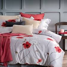 Red Duvet Set Red Poppy Flower Design 100 Cotton Queen Size Duvet Cover Bedding