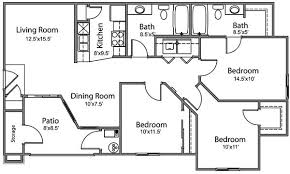 floor plans 3 bedroom 2 bath emejing 3 bedroom apartment floor plans images interior design