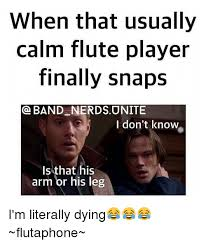 Flute Player Meme - when that usually calm flute player finally snaps band nerds unite i