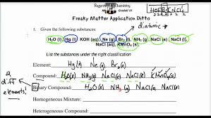 lecture 1 7 classifying matter worksheet using chemical formulas