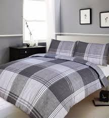 Single Bed Linen Sets Large Striped Grey Tartan Check Modern Duvet Cover U0026 Pillowcase