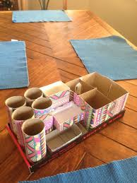 How To Make Desk Organizers by Diy Desk Organizer I Printed Some Tribal Print Art And Grabbed A