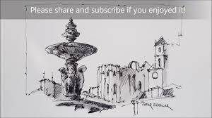 line and wash fountain in lisbon demonstration of my simple