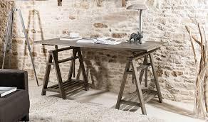 bureau style atelier bureau à tréteaux en bois massif inclinable style atelier